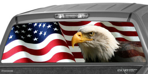 AMERICAN FLAG EAGLE Rear Window Graphic Decal Truck suv