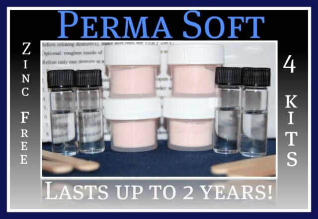 Perma Soft Reline~Denture Adhesive Alternative!~4 kits~False Teeth Reliner~Liner