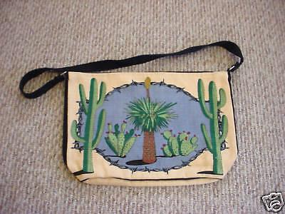 Desert Cactus Saguaro, yucca, etc.  zipper HANDBAG
