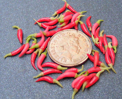 15 Red Chillies Dolls House Miniature Food Vegetables