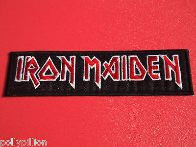 ROCK PUNK METAL MUSIC SEW/IRON ON PATCH:- IRON MAIDEN CLASSIC TEXT STRIPE (a)