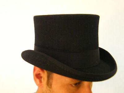 New Mens Gents Wool Felt Black Top Hat Formal Wedding Hat XS S M L XL XXL XXXL