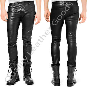 BESPOKE-100-GENUINE-LEATHER-Mens-THIGH-FIT-LUXURY-PANTS-JEANS-TROUSERS