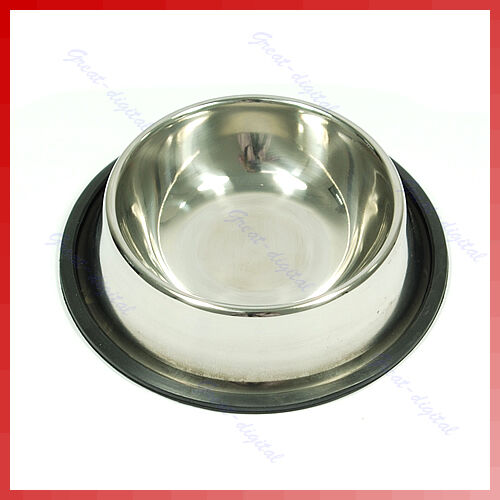 New Stainless Steel Non Skid Pet Cat Dog Slip Food Water Bowl Dish