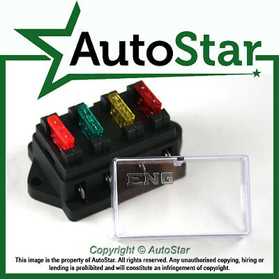 4 Way Circuit Standard ATO Blade Fuse Box / Holder – 12v & 24v Universal