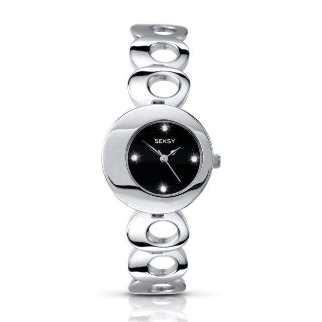Seksy Twilight by Sekonda Black Dial Stainless Steel Bracelet Ladies Watch 4800
