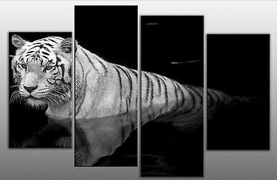 LARGE TIGER CANVAS PICTURE BLACK WHITE SPLIT MULTI 4 PANEL WALL ART 100CM WIDE