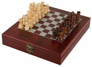 Wood-Chess-Set-With-Rosewood-Finish-Box-amp-Chess-Board-Portable-Great-Gift