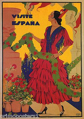 VISIT SPAIN VISITE ESPANA TRAVEL SPANISH FLAMENCO DANCER VINTAGE POSTER REPRO