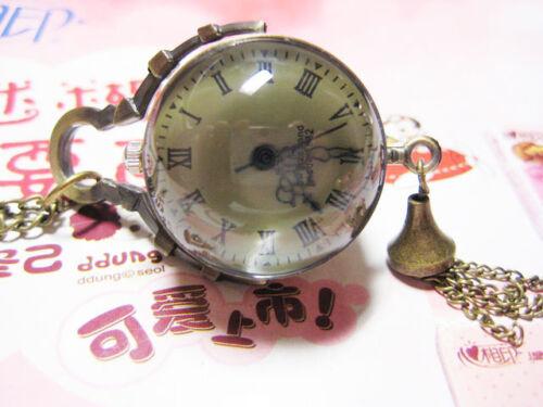 glass ball  steampunk Vintage style pocket clocket watch  pendant necklace