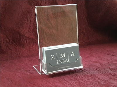 """4"""" x 6"""" Acrylic Sign Display with Business Card Holder"""