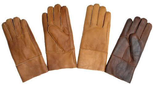 Sheepskin Leather and Suede Winter Gloves w/ Fur Lining
