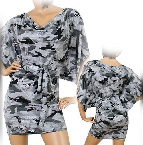 USA MADE Womens GRAY GREY BLACK Camo Camouflage Print Mini BAT WING Sleeve DRESS