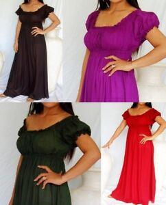 Boho-Chiffon-Peasant-Gypsy-Maxi-Dress-12-14-16-18-20-Empire-Victorian-Regency