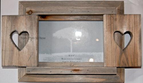 "Chic & Shabby Love Heart Shutter Doors Wooden Rustic Photo Frame Standing 6 x 4"""