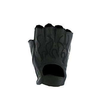Mens-Black-Flame-Leather-Fingerless-Motorcycle-Gloves-Gel-pad-Biker-S-2XL