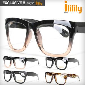 ililily-New-eyeglass-Vintage-Black-Rim-Clear-Lens-glasses-frames-FREE-Hardcase