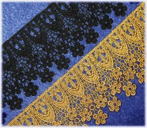 LOVELY-WIDE-DAISY-RAYON-VENISE-LACE-IN-BLACK-OR-METALLIC-GOLD-3-034