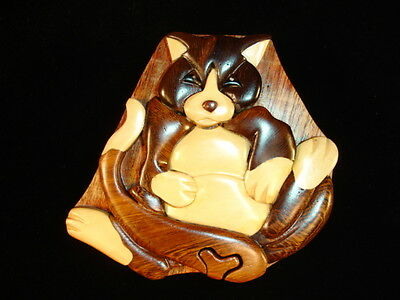 NEW Hand Carved Wood Art Intarsia KITTY CAT Puzzle Jewelry Trinket Box Home Deco