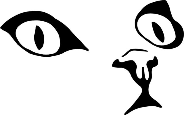 """Cat Eyes Face Decal    3.75""""x6"""" select color!   vinyl sticker"""