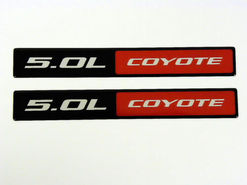 QTY 2 FORD MUSTANG GT 5.0L COYOTE ENGINE BLACK RED ALUMINUM EMBLEMS BADGE PAIR