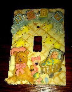 Baby boy girl teddy bear bottle nursery doll home office light switch