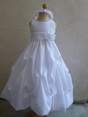 New PO1 white Flower Girl  BRIDESMAID JUNIOR PROM DRESS