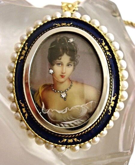 Antique Vintage Fine Jewelry  18kt  Gold Enamel Pendant