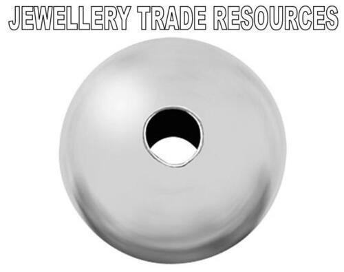 Argent Sterling 5mm creux perles fabrication de bijoux lot de 4-1,5 mm trou