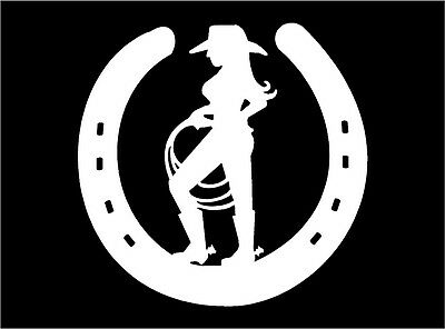 Cowgirl with lasso inside Horseshoe vinyl car truck window decal sticker graphic