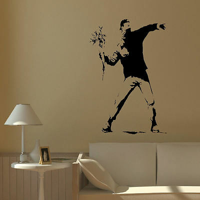 BANKSY STYLE MAN RIOT FLOWER LARGE WALL MURAL ART STICKER VINYL