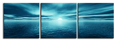 EXTRA LARGE BLUE SEA SEASCAPE CANVAS 5FT WIDE 60x20""