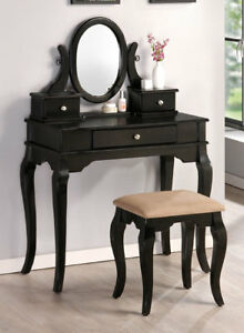 Free Shipping Antique Style Black Wood Vanity Makeup