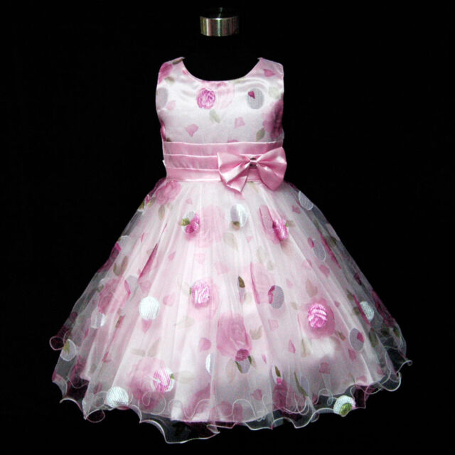 Pinks Cheerful Floral Spring Summer Flower Girls Dresses SIZE 2-3-4-5-6-7-8-10Y
