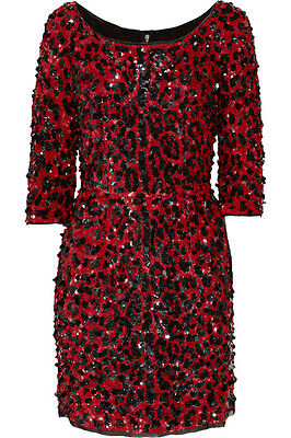 $6,300 NEW DOLCE & GABBANA RED SEQUINED SILK LEOPARD PRINT DRESS 40 - 6