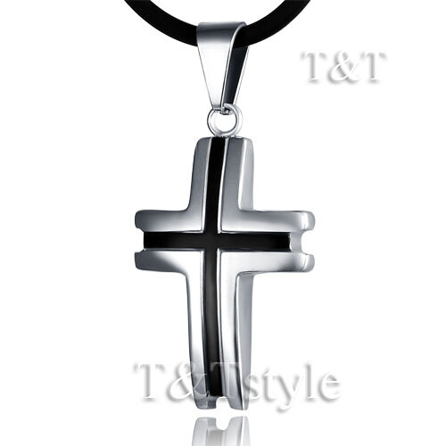 T&T Stainless Steel Cross Pendant Necklace (CP80)