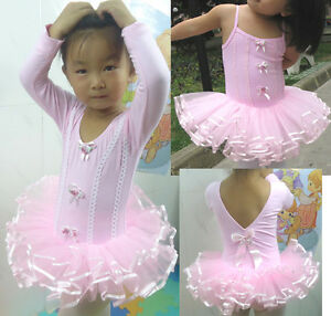 Girl-Party-Pink-Leotard-Ballet-Tutu-Costume-Dance-New-Skirt-Dress-2-8YRS-Sleeve