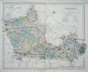 BERKSHIRE-Genuine-Antique-Map-Showing-Railways-amp-Stations-c1840-J-amp-C-Walker