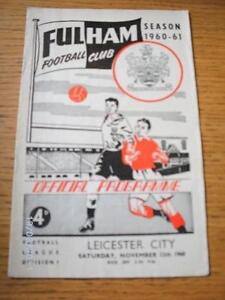 12-11-1960-Fulham-v-Leicester-City-Heavy-Creased-amp-Folded-No-obvious-faults