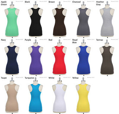 Basic Solid Sleeveless Sports Cotton Pain Tank Top Racer Back S M L