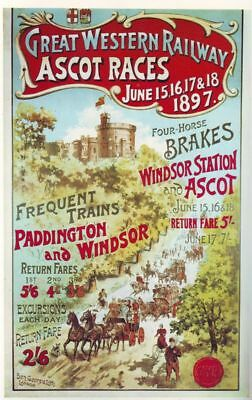 Vintage Royal Ascot Railway Poster A3 reprint