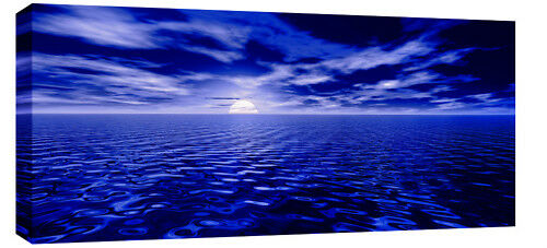 "LARGE MODERN BLUE SEA SEASCAPE CANVAS PICTURE 44""x20"""