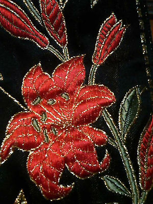 """VINTAGE LILLIES TUFTED QUILTED JACQUARD 3 3/8"""" SILK SATIN Made in France 1yd"""