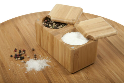 Core Bamboo Double Square Wooden Salt Box / Spice Cellar