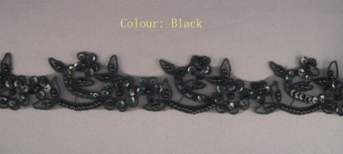 """#3 5 Colours Handmade Floral Corded beaded Edging Motif trim 1 3//8/"""" width"""