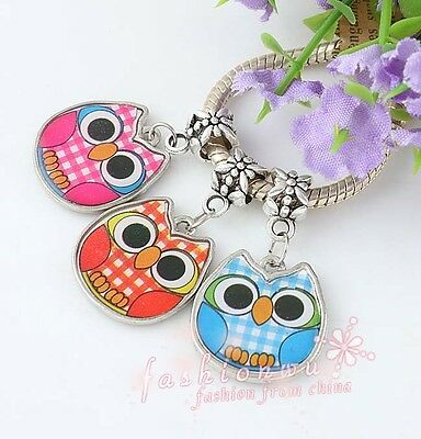 30X FreeShip Two-Sided Colors Enamel Cute Owl Charm Beads