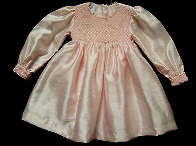Girls Annets Smocked Pearls Pink Party Dress Sz 2 Wedding Flower Girl Portrait