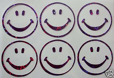 6 smiley face holo PINK iron-on transfer applique patch