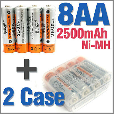 2 x Case + 8 AA Ni-MH 2500mAh rechargeable battery E@