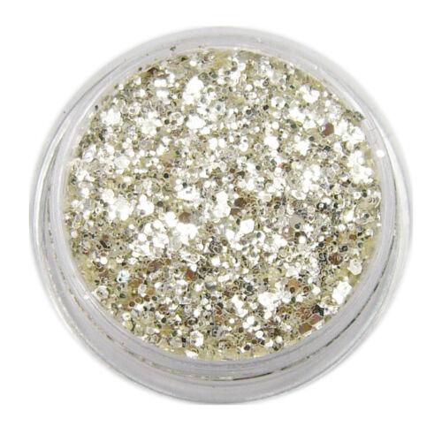3g Silber Glitter Flake in Dose Nail Art Glitterpuder verschiedende Flake Größen